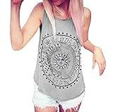 SEWORLD Tanktop Damen Frauen Sonne Gedruckt Tank Tops Bluse Casual Ärmellos Weste T-Shirt Oberteil (Grau,M)