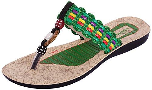 Poddar Women Green Pu Slippers - 5 UK