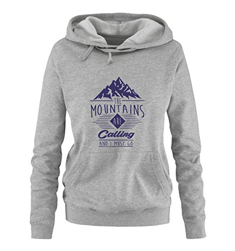 Comedy Shirts - The Mountains Are Calling and i Must go - Damen Hoodie - Grau/Lila Gr. M