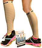 Calf Compression Sleeve for Men & Women, Best Footless Socks for Shin Splints & Leg Cramps, Runners Calves Circulation Remedy, Support Stockings, Running Gear, Basketball Lycra Tights - BEIGE