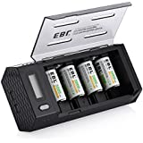 EBL C Size Rechargeable Batteries (4 Pack) with Upgraded AA AAA C D 9V Battery Charger with 2 USB Port