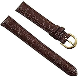 14mm Calf leather watch strap band in croc-design brown with buckle in gold