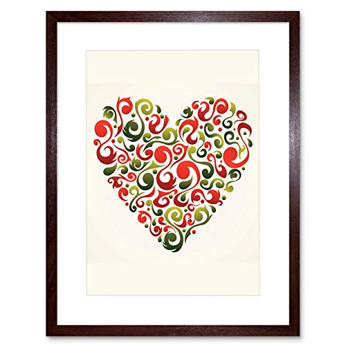 PAINTING ABSTRACT LOVE HEART SHAPE INSET RED SWIRL VECTOR FRAMED PRINT B12X8243 -