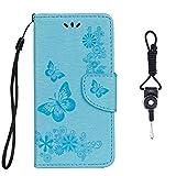 SsHhUu Custodia Galaxy S5, Cover Portafoglio in Vera Pelle [Carta Fessura] [Magnetica Chiusura] con Lanyard per Samsung Galaxy S5 G900F G900A G900T G900W8 5.1' Blu