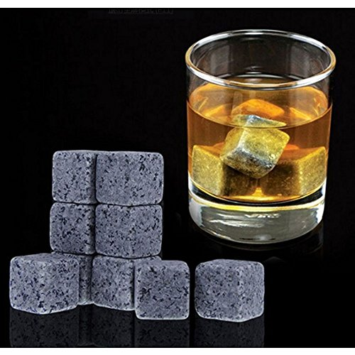 Lezed Whisky Steine 9 Stück Wiederverwendbare Eiswürfel,Whiskysteine, Whisky Stones, Kühlsteine,Whisky Stein Eiswürfel,Steineiswürfel,Eisstein (Grau schwarz)