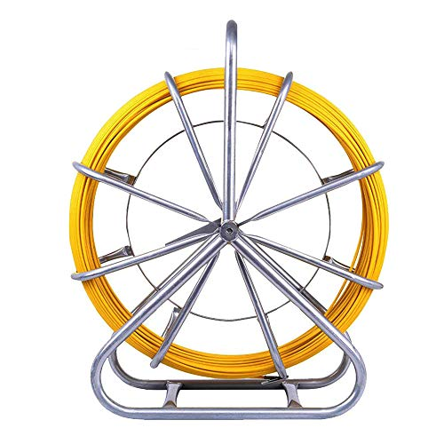 PanelTech 6 mm X 130 M Brin Rigide D'Aiguillage / Tirage De Câble Fibre De Verre Tige de canne Rodder Fiberglass Tirer le câble de fil de pointe Rouler le ruban de poisson Tirer le fil rétractable de fil de traction actionné à la main
