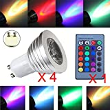 GU10 LED Light Bulb RGB, iNextstation 110V-220V 3W Spotlight GU10 Bulb + 24 Key Remote Control with 16 Colors Changing, Dimmable, On/Off for Home Bar, Landscape, Bedroom, Living Room - 4 Pack