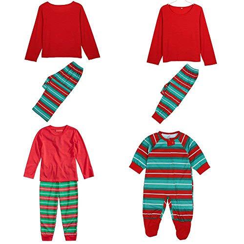amilie Weihnachten Pyjamas Gestreiften Pyjama Set Mode Nachtwäsche Homewear ()