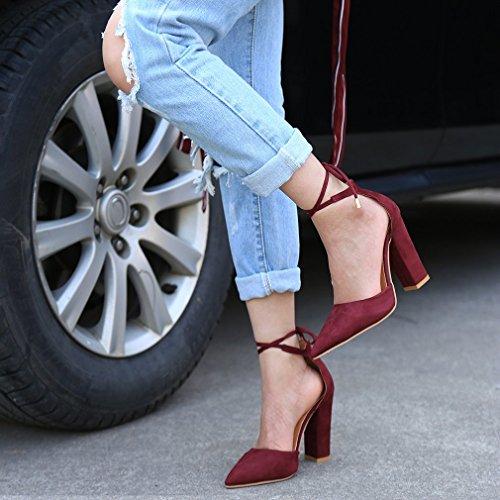 Minetom Femme Eté Élégant Sandales à Talons Peu Profondes Bouche Suède Sandals Lacets Nœud Cheville Enroulé Talons Hauts Chaussures Vin Rouge