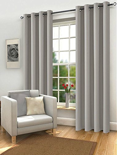 Blackout Curtains Eyelet Ring Top Thermal Fully Lined Solar Pair Ready Made Ties (66″ Width x 72″ Drop, Silver/Grey)