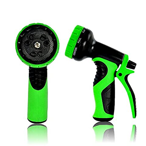 Top Rated Garden Hose Nozzle by gardspo, best 9 settings hose nozzle that fits USA standard garden hose. Perfect water hose nozzle for garden, washing cars and pets. (Green)
