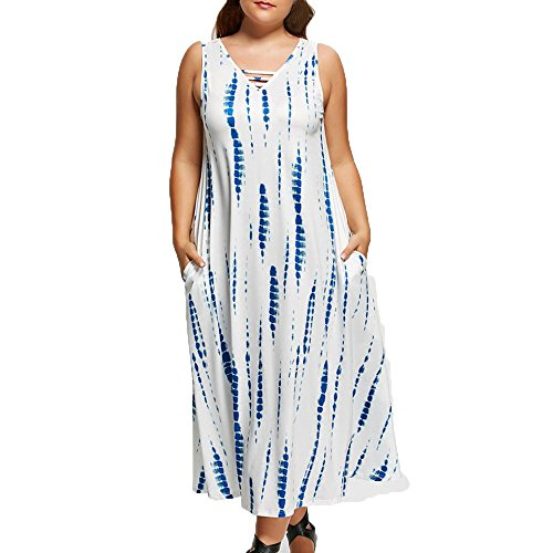 Overdose Women Dress Plus Size V-Neck Sleeveless Maxi Dress with Pockets UK 18-24