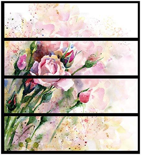Home 4 Schubladen Kommode (Wallario Möbelfolie/Aufkleber, geeignet für IKEA Malm Kommode - Abstraktes Blumenbuket mit 4 Schubfächern)