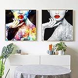 Swallow Quadri e Dipinti su Tela Ritratto Donna Nuda Red Lip Immagini per pareti per la Decorazione domestica-50x50cmx2 Pezzi Senza Cornice