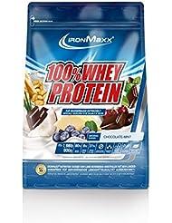 IronMaxx 100% Whey Protein Pulver / Eiweißpulver Schokolade-Minze für Proteinshake / Whey Protein mit Schokolade-Minze Geschmack / 1 x 900 g Beutel