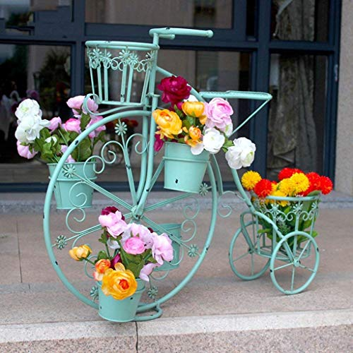 IU Desert Rose Étagère de balcon Stand de fleur créatif européen support de fleur de vélo multi-couche support de fleur de sol vert pot de fleur jardin 84 * 32 * 70cm (couleur: or) (Couleur : Bleu)