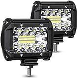 LED Arbeitsscheinwerfer, AMBOTHER Zusatzscheinwerfer 4 Inch Arbeitslicht 120W 3 Reihen LED Scheinwerfer Arbeitsleuchte 2 Stück