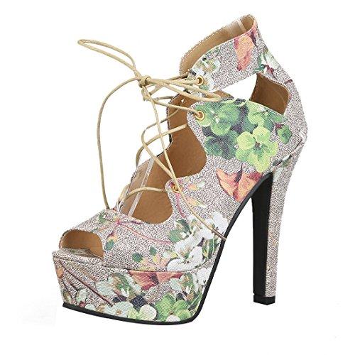 Del Mujeres Zapatos La Elegante Abierto Floral Plataforma De Sandalias Las Dedo De Del Cordón Tacón Y Pie Verde Uh El Alto Con wzIdqz