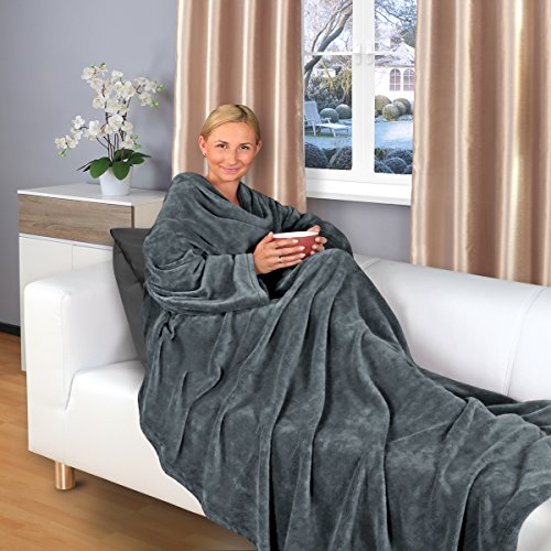 Gräfenstayn Kuscheldecke mit Ärmeln 200 x 150 cm TV-Decke in verschiedenen Farben Sofadecke (Anthrazit) (Ärmeln Decke)
