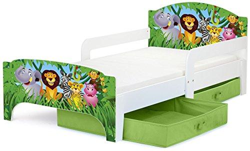 Moderne Smart Lit d'Enfant Toddler 140x70 Motif Animaux Dans La Jungle Confortable Fonctionnel Lit Simple Avec Un Tiroir Lit Pour Enfant Avec Rangement et Matelas Grand Tiroir En Textile 2 Pièces
