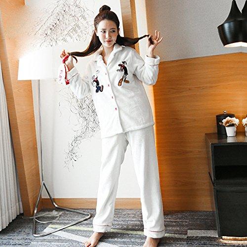 YI Herbst und Winter home service Flanell Weihnachten Cartoon Damen Langarm Pyjama Anzug Brillen L weiß