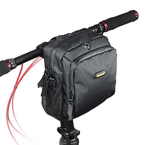 rhinowalk Bike Lenkertasche wasserdicht Stoff Hohe Kapazität 2in 1Front Pack für Falt Tasche Road Bike, mattes schwarz -