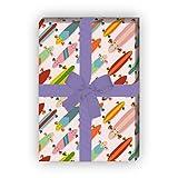 Modernes Skater Geschenkpapier Set (4 Blatt) mit bunten Skateboards für tolle Geschenk Verpackung...