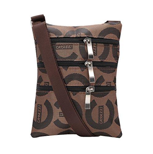 Dairyshop Donne Piccola borsa Borsa borsa della del sacchetto del corpo della borsa del sacchetto (Nero) Marrone C