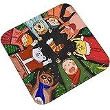 Epinki Flanell Teppich Weihnachten Santa Claus Stil Muster Teppiche für Flur Schlafzimmer Bunt 50x50CM
