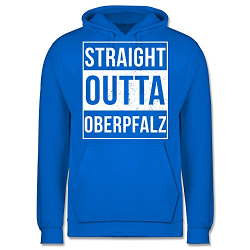 Oberpfalz Männer - Straight Outta Oberpfalz Weiss - JH001 Herren Kapuzen Pullover Himmelblau