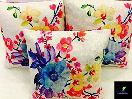 Jmt Jute Cushion Cover(Digital Print Cushion Cover Set Of 5 Pcs, Size...