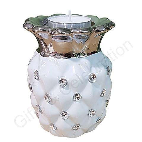 Blanc argenté Strass décoratifs Ananas en céramique Bougie chauffe-plat Ornaments