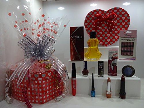 Panier de cadeau de Saint-Valentin pour elle ~ Luxe 10pc Parfum et maquillage Beauté Boîte cadeau Panier cadeau pour elle. Édition limitée. 335.