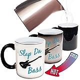 """Lustige Tasse, Motiv Bandmitglied """"Slap Da Bass""""–Band, Rock, Pop, Gitarristen, Bassisten, Schlagzeug, Konzert, Gig, Weihnachten, Wichteln, Wärme-Farbwechsel –Geschenk-Box"""
