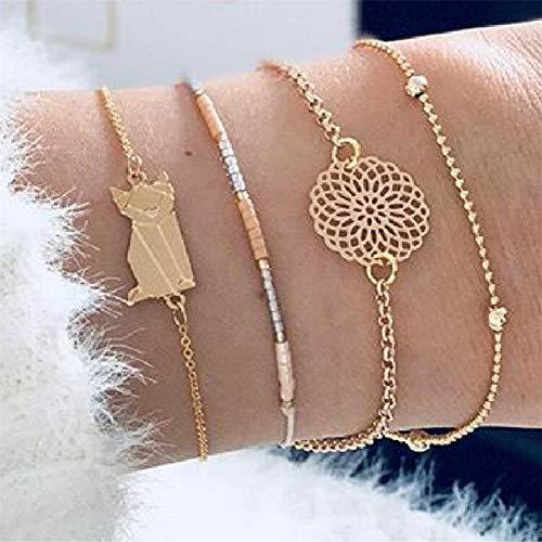 WODESHENGRI Armbänder,Damen Armband Boho Armreif Shell Sterne Mond Bug Karte Crystal Bead Armband Frauen Charme Party Hochzeit Schmuck Zubehör