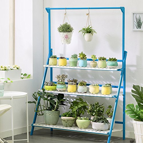Bleu 3 Niveaux Plante Échelle Bambou Multifonctionnel Plante Fleur Pot Stands Intérieur Extérieur ( taille : 100*40*96CM )