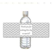 30borraccia etichette impermeabile festa di compleanno bambino e bridal Shower favor Grey chevron design involucri