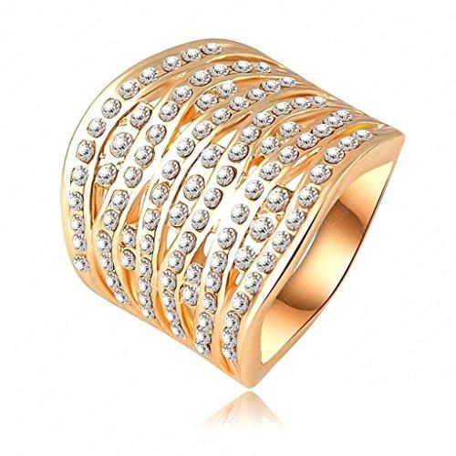 Daesar Vergoldet Ringe Damen Rechteck Zirkonia Ring Strass Verlobungsring Stein Ring Größe: 53 (16.9)