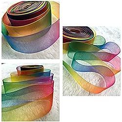 ULTNICE Rouleau de tissu transparent 50yd de matériel Organza Ruban 25MM arc en ciel coloré Organza tissu rouleau d'emballage