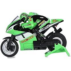 RC Motocicleta de Juguete Motor de Control Remoto RC Off-Road Racing con Cable USB ( Color : Verde )