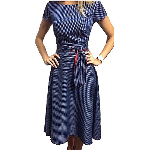 Retro Polka Dots Freizeit Swingkleid Cocktailkleid Faltenrock Kleid Partykleid Blau (XL, Blau) (Gehobene Kleid)