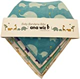 Premium Baby Bandana Bibs, 100% Organic Cotton, Set of 5 Unique Designs (Boys Set)