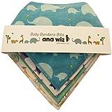 Lot de 5bavoirs bandana pour bébé, 100% coton bio de qualité supérieure, design unique