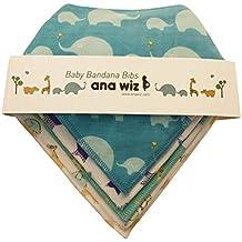 Premium bebé Bandana baberos, 100% algodón orgánico, Set de 5Diseños únicos
