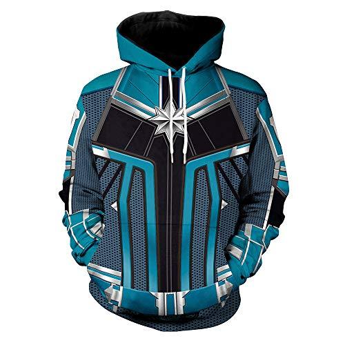 Marvel Superheld Frau Marvel Hoodie Cosplay Erwachsene Männer Frauen Sweatshirt Mit Kapuze Jumper Outdoor Sports Hoodies,Blue-XL