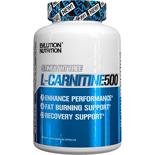 Evlution Nutrition L-Carnitine500, 500 mg of Pure L Carnitine in Each Serving, Stimulant-Free, Capsules...