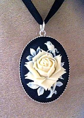 pendentif la rose ivoire camée argent 925