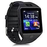 Bluetooth Smart Watch, Smart Watch Handy Mobile Internet Touch Screen Positionierung Bluetooth Foto Geschenk Android SumSung Huawei und IOS iPhone 7 8 X (Farbe : Schwarz, Größe : M)