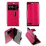 Custodia cover protettiva Huawei Ascend G6Folio finestra finta pelle intégrale- Rosa Fucsia