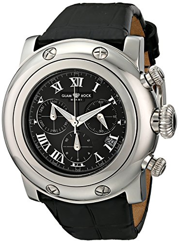 Glam Rock Unisex Miami 46mm Black Leather Band Steel Case Swiss Quartz Analog Watch GR11124